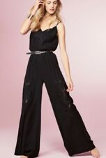 NEXT BLACK EMBROIDERED WIDE LEG JUMPSUIT SIZE 12 PETITE BNWT