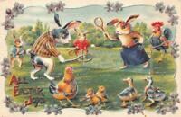 Humanized~Dressed Bunny Rabbits~Play Tennis~Sports~1910 Easter Postcard-c-118