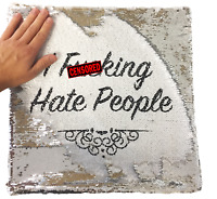 "Cushion Cover Hidden Message - ""I F**king Hate People"" Silver Sequin Mermaid"