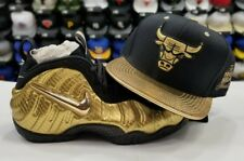 Matching Mitchell Ness Chicago Bulls Snapback Hat For Nike Foamposite Gold Foams