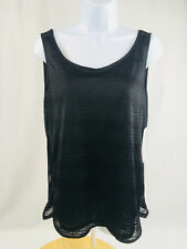 Ellen Tracy Active Womens Tank Top Size M black striped semi sheer New $34.99