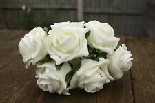 6 X Ivory Colourfast Foam Open Cottage Roses 6cm Wedding Flowers