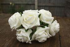 6 x Avorio Luxury Colourfast Schiuma aperto Cottage Roses 6cm Matrimonio Fiori