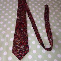Vintage Retro M&S ST MICHAEL Paisley Men's Floral Patterned Pure Silk Tie - UK
