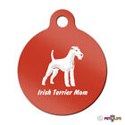Irish Terrier Mom Engraved Keychain / Round Tag with Tab red Many Colors