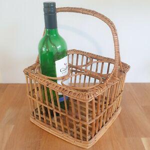 Vintage Woven Bamboo & Wicker 4 Bottle Wine Carrier Basket - Picnic / Shopping