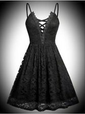 New Black Gothic Lace Cute Fit & Flare Skater Short LBD Dress size 4XL 22 24 26