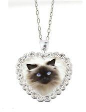 "Clear Rhinestone Heart Birman Himalayan Cat 20"" Chain Pendant Necklace"