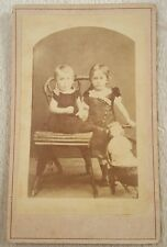 Antique CDV photograph 2 little girls with doll in a doll stroller