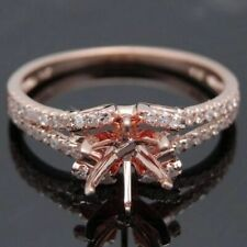 6.5MM ROUND SEMI MOUNT PAVE NATURAL DIAMOND ENGAGEMENT RING SOLID 10K ROSE GOLD