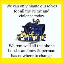 4x4 Fridge Magnet Minion Meme Silly Funny Humor Phone Booth Superman