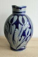 Großer Krug Vase mit Henkel aus Steingut Dekorationsgefäß Höhe 24cm Grau Blau