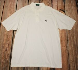 Fred Perry Made in England Mens White Polo Shirt Short Sleeve Top Size L NEW