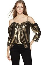 NEW Nicole Miller Foiled Glitter Schuler Top Gold Size S