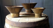 Graduated Set Of 3 Antique Brass Country Store Funnels Grain Candy Measure Scale