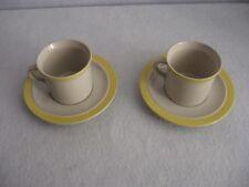 2 Mugs & Saucers Stonecrest Sandpebbles Yellow JI Andre Ponche Royal Jackson 103