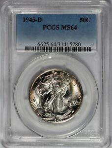 1945-D Walking Liberty Silver Half Dollar Coin 50c PCGS MS-64
