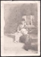 Vintage Photograph Early 1900'S Young Lady & American Eskimo Dog Puppy Old Photo