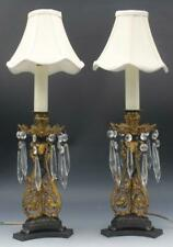 Pair Antique French Gilt Bronze Open Work Accent Table Lamps w/ Crystal Prisms
