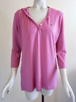 Lacoste Women's Hooded Pullover 3/4-Sleeve Polo Top, Purple Lavender, Size 42