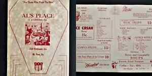 antique AL's PLACE DINER MENU mt penn pa yuengling ice cream burger 10c ammarel