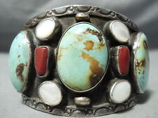 MONSTROUS VINTAGE NAVAJO ROYSTON TURQUOISE CORAL STERLING SILVER BRACELET