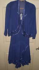 NWT SL Fashions New York Purple Dress Size 4P Embellished 2 Piece Dress /Jacket