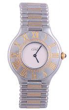 W113-Cartier Must De 21 Two Tone Bullet Bracelet 18K Gold Authentic Quartz Watch