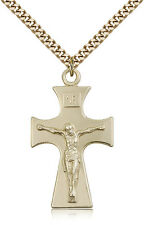 """Gold Filled Crucifix Pendant For Men On 24"""" Chain - 30 Day Money Back Guarantee"""