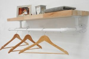 White Pipe Fitting Clothes Rail & Shelf, Industrial Pipe, Vintage Style