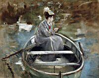 On a Boat by French  Eva Gonzalès. Life Art .  11x14 Print