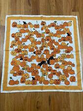 Vtg Halloween Pumpkin & Black Cats Square Satin Scarf At