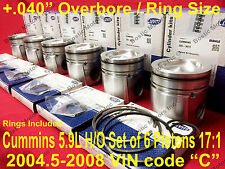 CUMMINS 5.9 L PISTONS w/Rings 2004.5-08 MAHLE +.040 17:1 set/6 Matched/Balanced