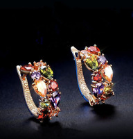 1 Pair Fashion Women Lady Elegant Crystal Rhinestone beaded  Ear Stud Earrings