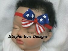 Red White Blue Stars & Stripes Dainty Hair Bow Lace Headband 4 Preemie 2 Toddler