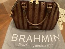 RARE Brahmin Satchel Brown Ostrich & Suede Leather Excellent PRE-OWNED Condition