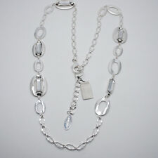 chicos women jewelry long simple texture silver plated necklace chain rectangle