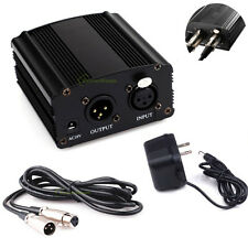 1-Channel 48V Phantom Power Supply+US Adapter+ XLR Audio Cable for Condenser Mic