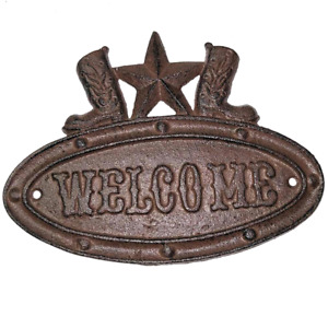 Unbranded Welcome Plaque Iron Rustic Western Star Cowboy Boots 676