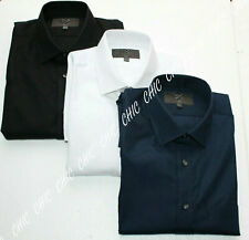 M & S Mens Classic Collar Long Sleeve Slim Fit Shirt With Cotton Easy to Iron