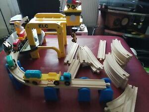 ELC Crane Vehicles Wooden Track Bundle Job Lot Brio Thomas Compatible Set