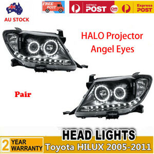 Pair Headlights DRL Angel Eye HALO Projector Head Light For Toyota HILUX 2005-11