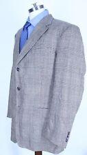 BURBERRYS BLAZER SPORT COAT GLEN PLAID Mens Sz 44 L Long  Silk / Wool