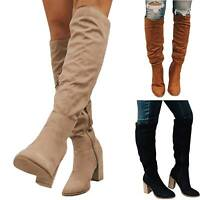 Womens Vintage High Heel Block Knee Boots Stretch Round Toe Casual Shoes Winter