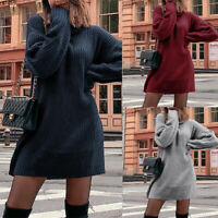 Women Casual Turtleneck Sweater Dress Long Sleeve Knit Pullover Winter Clothes