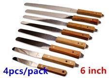 4 Pcs 6 Stainless Steel Spatula Wood Handle Silk Screen Printing Scoop Ink