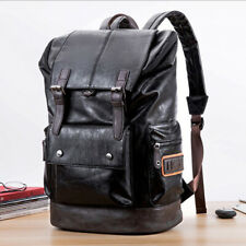 Men's Backpack PU Leather Shoulder Bag Weekender Travel School Laptop Bags US