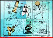 2127 BRAZIL 1988 ANTARCTICA RESEARCH, MAPS, MICROSCOPE, SCIENCE, MI# B72,S/S MNH