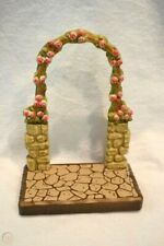 Vtg Anri Wood Carving Display Stand Backdrop Scenery Rose Arch Rock Stone Path