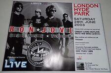"""BON JOVI Original GIANT 40""""X30"""" Bounce Tour Poster Hyde Park Concert London 2003"""